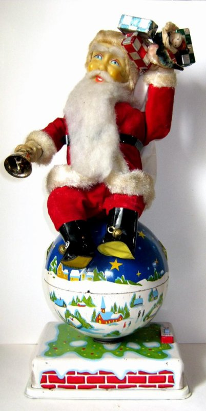 "AUTOMATE A BATTERIE MADE IN JAPAN - HTC Co "" ANIMATED SANTA ON ROTATING GLOBE "" "" PERE NOEL TOURNE ASSIS SUR LE GLOBE "" VOIR VIDEO JOINTE"