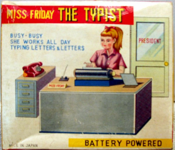 """AUTOMATE A BATTERIE MADE IN JAPAN - TN """" MISS FRIDAY - THE TIPIST """" """" MADEMOISELLE VENDREDI TAPE A LA MACHINE A ECRIRE """" VOIR VIDEO JOINTE"""