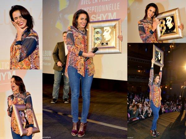 4 Février 2013: Shy'm au Grand Rex pour la diffusion de son Bercy au cinéma ! Elle a reçu un double disque de platine pour Caméléon