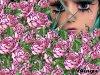 Beau visage et belles roses