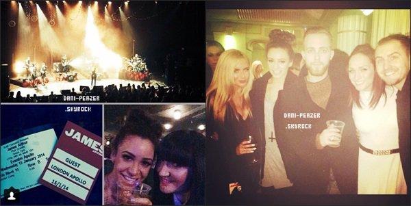 ● Danielle au concert de James Arthur, à Londres.