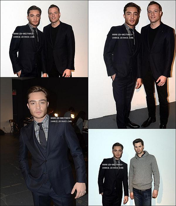 .  Le 13 février: Ed dans les backstage du défilé du créateur Simon Spurr pendant la Fashion Week.   TU AIMES LA TENUE D'ED ? .