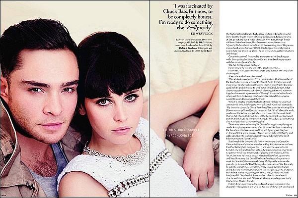 . Scans de Ed et sa co-star Felicity  Jones, en première de couv pour le mag' Tatler - Mars 2011.  Première partie des photos ici. .