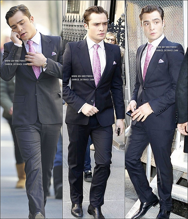 .  16/02/11 : Ed sur le tournage d'un épisode de la saison 4 de Gossip Girl. __ IN/OUT la cravate fushia ? .
