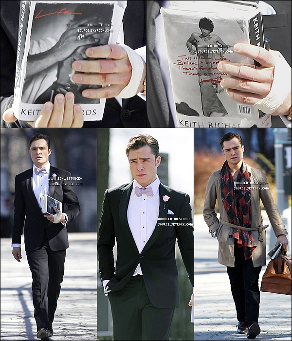 . 08/03/11 : Ed sur le set de la saison 4 de GG vu avec le livre «Life» de Keith Richards à New-York. _  TOP/FLOP ?.