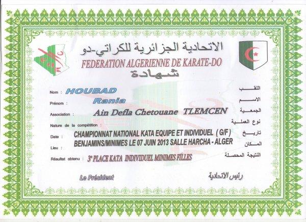 Rania Houbad ,championne d'Algérie