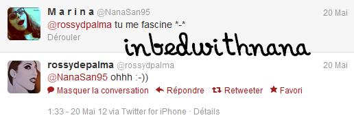 avoir une réponse et se faire RT en plus par Rossy de Palma,ça fait plaisir :D