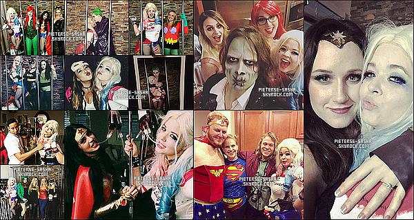 Voici des photos de la soirée d'halloween de notre Sasha déguisée en Harley Quinn. Personnellement, J'adore son déguisement. Son fiancé était en Joker, je trouve cela pas mal. Elle était souriante & s'est bien amuser.