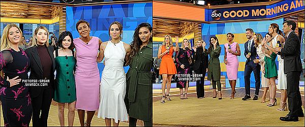 """18 / 04 / 17 :Sasha & le cast de PLL ont été à l'émission """"Good Morning America""""à New York. Sashaa été sur le plateau de cette émission afin de parler de PLL avec ses co-stars. On peut apercevoir aussi en arrivant aux locaux."""