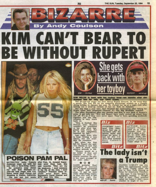 20 Septembre 1994: Kim can't bear to be without Rupert
