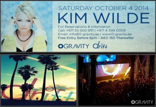 4 Octobre 2014: Kim Wilde: Zero-Gravity de Dubaï (Emirats Arabes Unis)