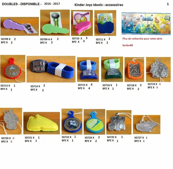 DOUBLES INDIVIDUELLES KINDER JOY 2016 - 2017