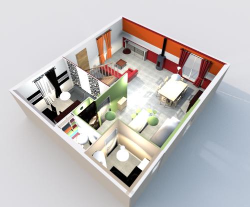 Les plans 3d la maison ossature bois de elo vince for Plan de maison moderne 3d