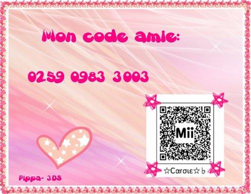 Mon QR Code et mon code ami