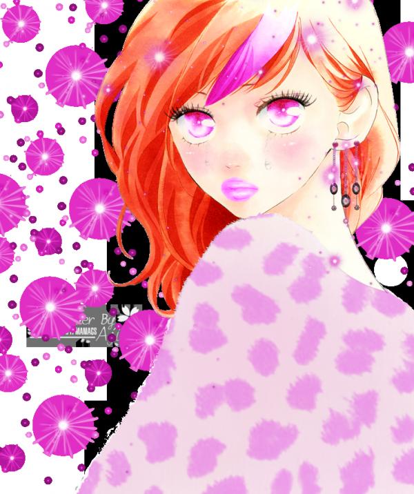 Render fille rousse + étoiles rose