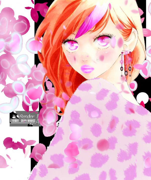 Render fille pull rose + pétales de fleurs cerisier (Sakura)