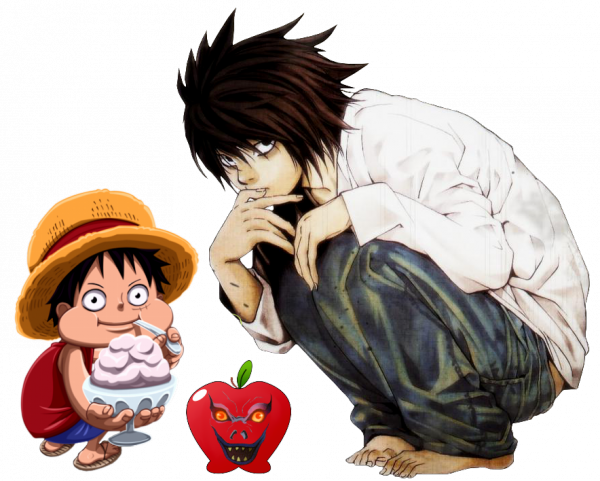 Render One Piece et Death Note Luffy et L Lawliet