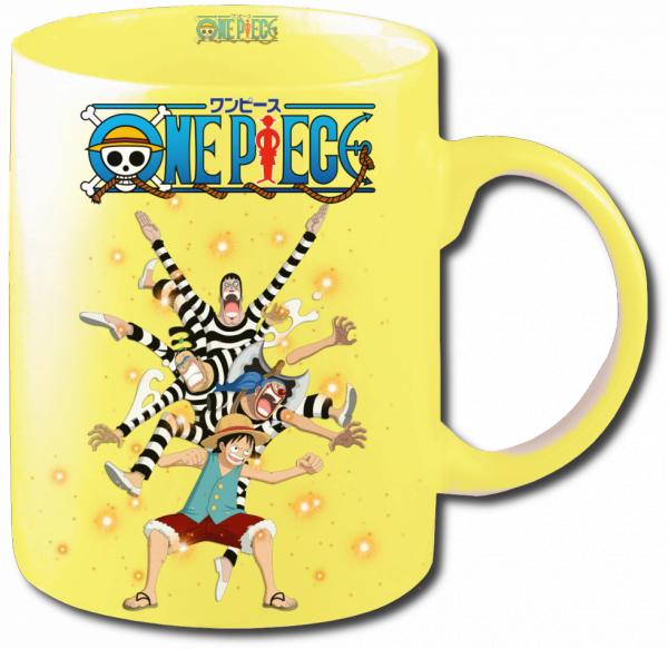 Render Mug One Piece Luffy Baggy Mr 3 et Bon clay