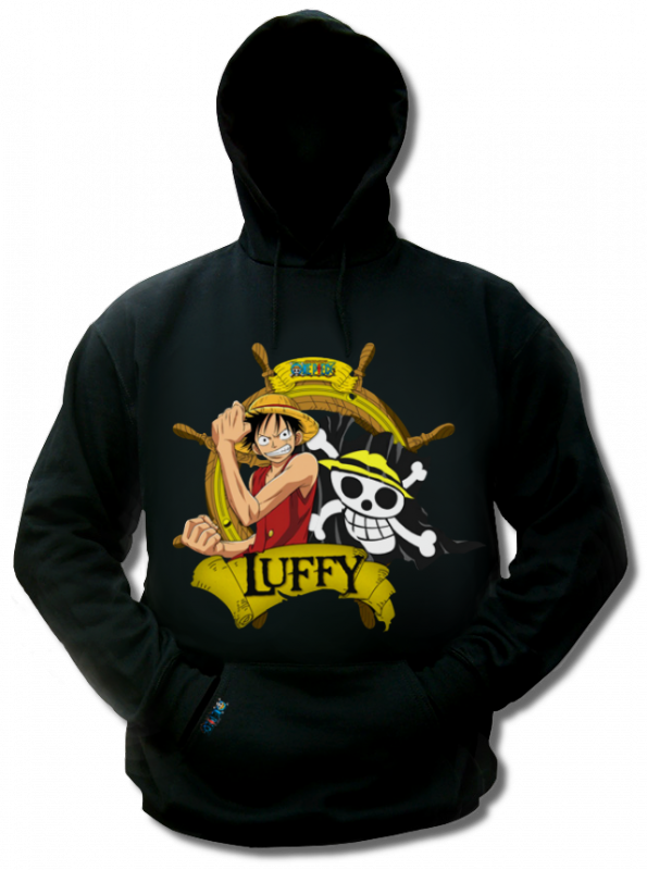 Render Sweat a capuche Noir One Piece Luffy