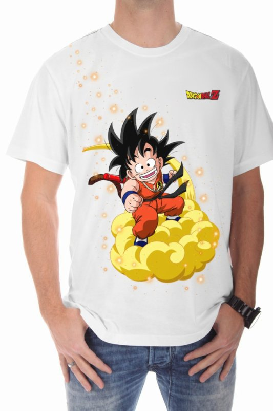 Thee shirt blan Drangon Ball Goku