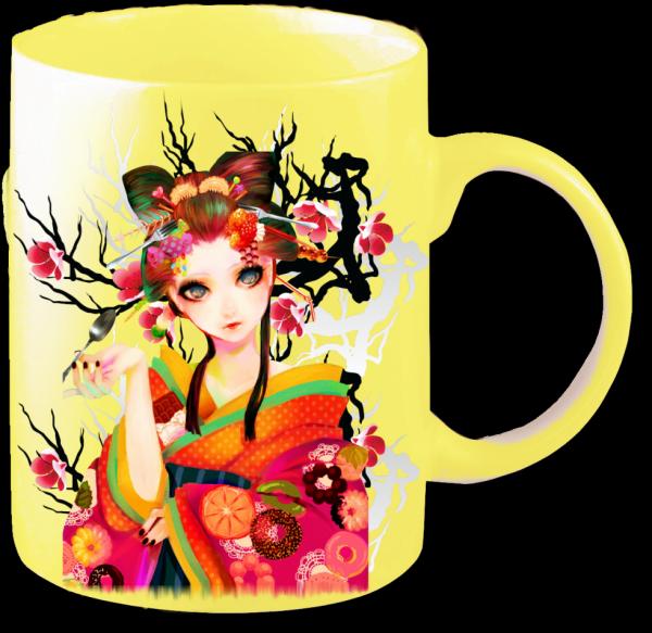 Render mug jaune Geisha et Fleurs de Cerisier