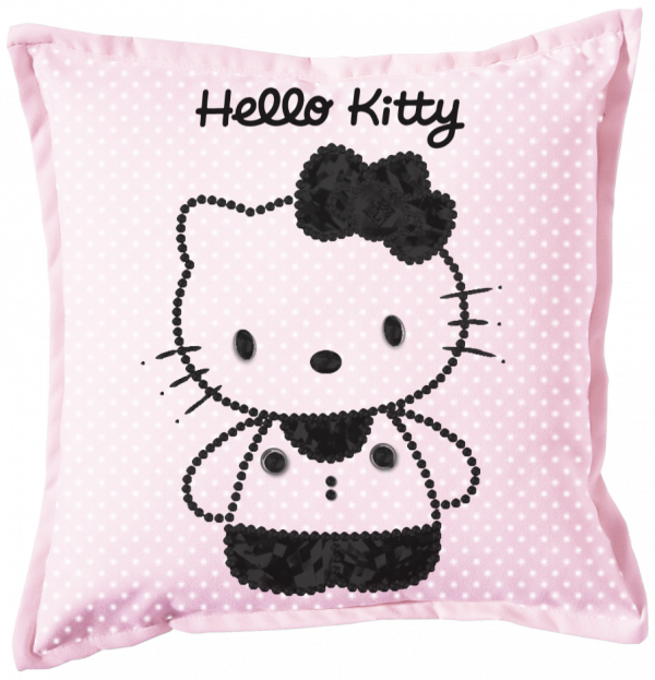 Renders coussin rose Hello Kitty perle noir