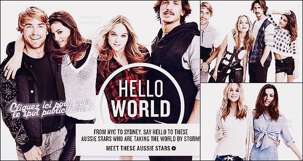 """""""HELLO WORLD"""" :  → Découvrez deux outtakes inédits ainsi que quelques photos extraites du shoot  Phoebe T' avait participé à un photoshoot promotionnel pour la marque de vêtements australienne Cotton On. De toute beauté !"""