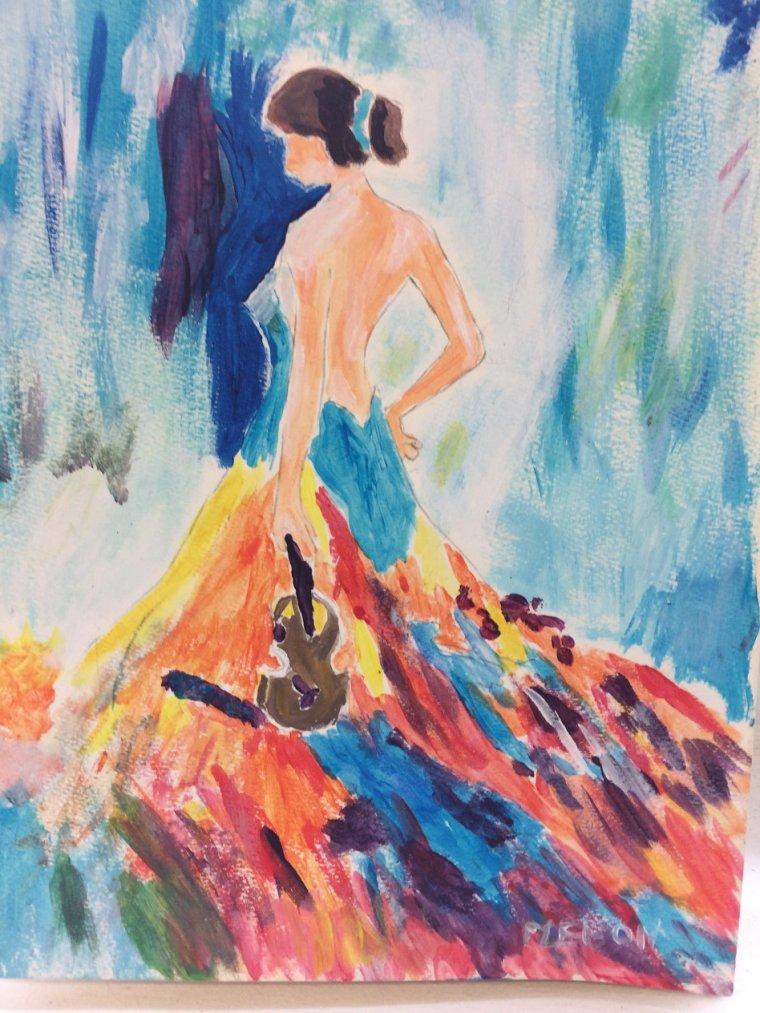 LA DAME EN ROBE LONGUE ( Acrylique)par MARTINE - Aimela