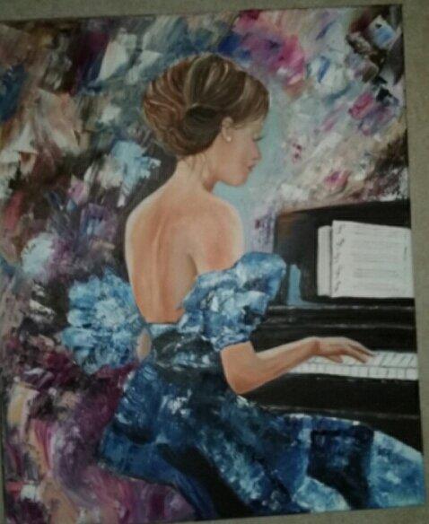 LA PIANISTE (Huile sur toile ) ar Evelyne Cacitti