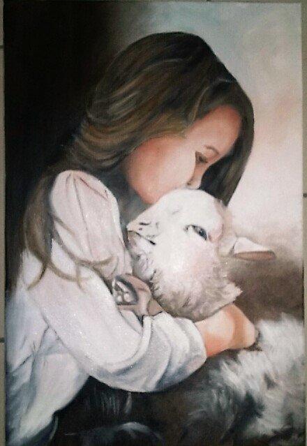 """L'AGNEAU ET L""""ENFANT ( 'Huile sur toile ) par Evelyne CACITTI"""