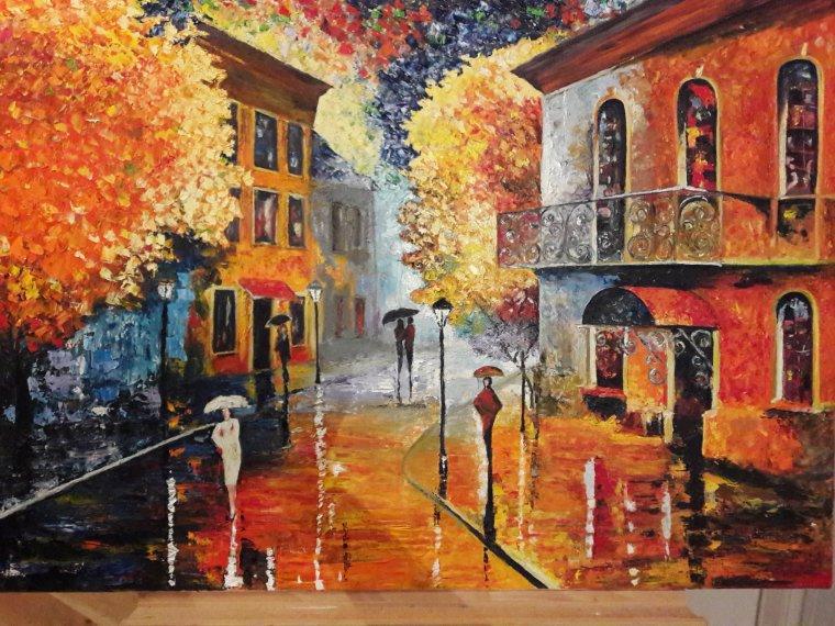 Village de nuit sous la pluie (Huile au couteau,d'après Léonid AFREMOV 90x60) par Nicole Malenfant
