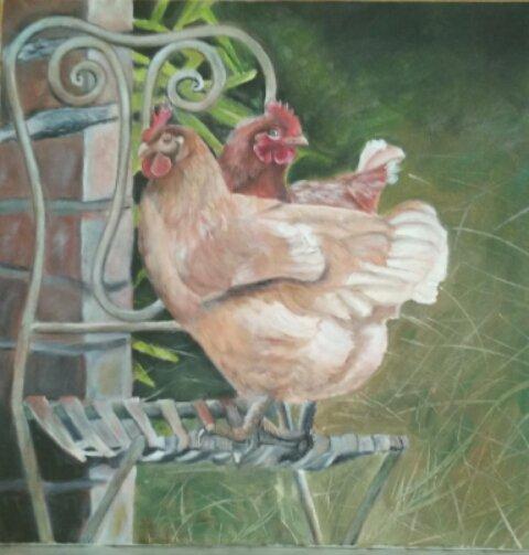 Les 2 Poules curieuses(Huile sur toile 50x50 cm ) par Evelyne CACITTI