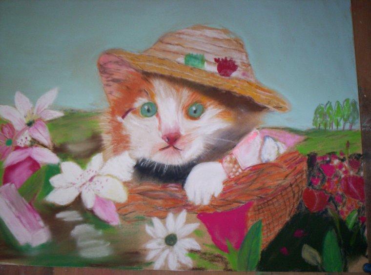 LE CHAT COIFFE (Pastel sur Pastelcard 30x40 cm) par votre serviteur