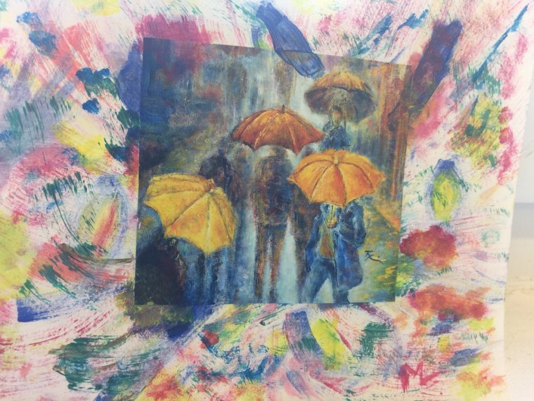 Les Parapluies ( Collage et Acrylique ) par Martine