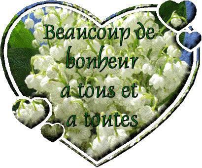 bonjour mes amies et amis en ce vendredi je vous offrent un jolie cadeau pour le 1er Mai qui vous porteras bonheur dans votre coeur et tout plein de belles choses et je vous fais de gros bisous votre amie gisèle