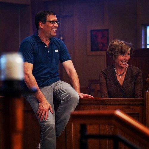Richard LaGravenese et Emma Thompson en Mme Lincoln sur le tournage