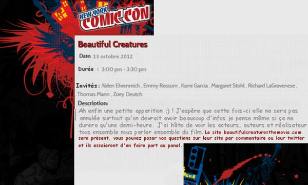 Panel Beautiful Creatures pour le Comic Con de New York le 13 octobre