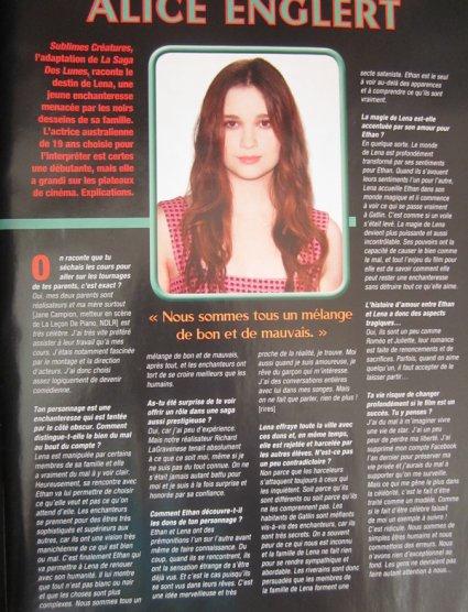 Scans des interview de Alden Ehrenreich et Alice Englert dans le One magazine de février-mars 2013