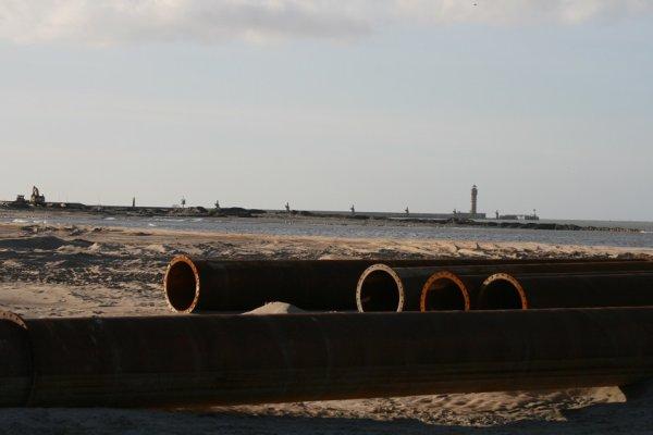 Avancement des travaux de la jetée de Malo (22-02-14)