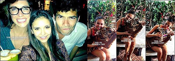 """.31/12/2012 - Voici des photos que Nina à posté sur son compte Whosay hier et aujourd'hui. """"Thaïlande!!! J'adore l'Asie..."""" pour la première, pour les 3 autres, on l'a voit avec un bébé tigre, mignon, non ? ."""