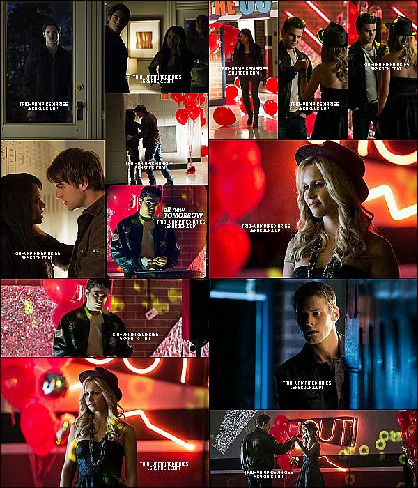 """Voici les photos promo du 4x12 : """"A View to a Kill"""", du 4x13 : """"Into the Wild"""" et du 4x14 : """"Down The Rabbit"""" !. Voici le synopsis du 4x15 : """"Stand By Me"""" qui sera diffusé le 21 février 2013 sur CW ! La terrible vérité – Lorsque Stefan revient à Mystic Falls en compagnie d'Elena et Jeremy, Caroline se montre tout de suite inquiète à propos de l'état d'esprit d'Elena. Stefan contacte le Dr Fell et Matt afin d'obtenir de l'aide. Toujours sur l'île, Damon transmet de sombres nouvelles à Rebekah et il sera surpris par sa réaction. Ensemble, Damon et Rebekah apprennent une partie inattendue de l'histoire récente qui leur sera révélée par Vaughn. Tout le monde est horrifié lorsque Bonnie révèle l'autre partie du plan de Shane. Enfin, après tous les efforts de Damon, Elena propose alors son propre plan."""
