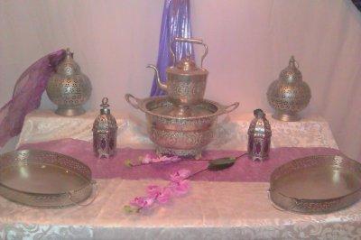 table de réception violet / argenté