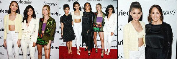 - 11/04/16 - Zendaya Coleman a été photographiée au côté de plusieurs célébrités à un événement de Marie-Claire.La chanteuse-actrice à été vu sur le red-carpet avec Kylie Jenner, Hailey Baldwin et autres mannequins. Zend' était ravissante comme à son habitude!-