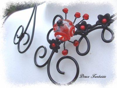 collier fil aluminium rouge et noir