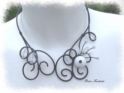 collier fil aluminium noir et blanc