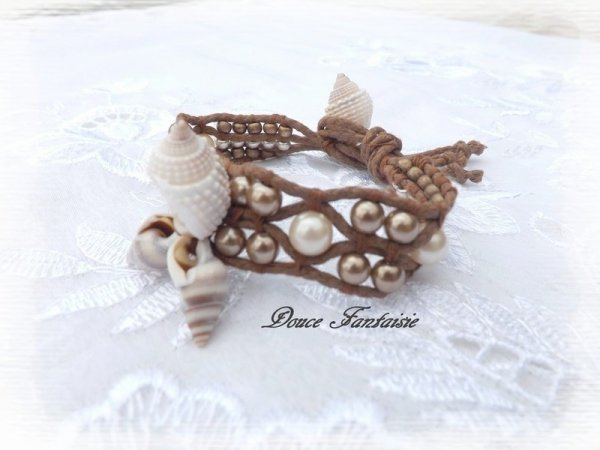 Bracelet coquillage marron et ivoire