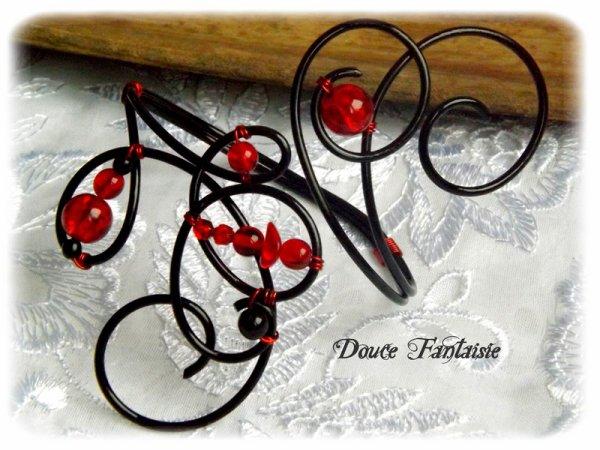Bracelet fil aluminium rouge et noir