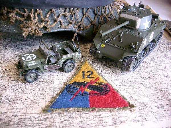 "Ecusson 12ème US Armored Division ""HELLCAT"""