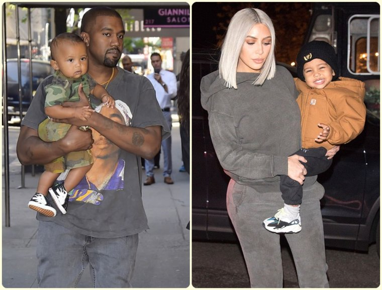 Kim Kardashian & Kanye West & Leur Enfant North // Saint & Chicago