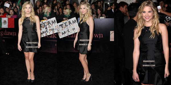 14 Novembre : Ashley a été a la Premiére de Twilight 4 premiére partie . Côté tenue : Sa robe est simple mais assez jolie , ses escarpins aussi . Gros coup de coeur pour son make-up , sa sera un Top pour moi , et toi t'en pense quoi Top / Bof / Flop.